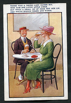 C1920s Comic/Cartoon: Lady Drinking Cider: There Was A Lady Named Ida