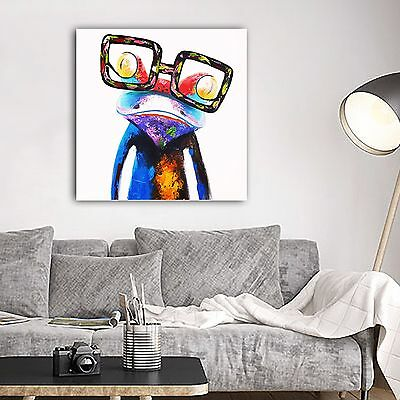 Framed Canvas Printing Modern Abstract Animals Frog with Glasses painting art