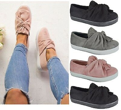 New Ladies Womens Flat Faux Suede Trainers Sneakers Bow Pumps Shoes Uk Size 3-8