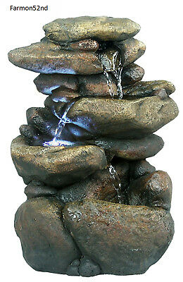 Garden Water Fountain 3 Tier Rock with LED Light Indoor Outdoor Tabletop