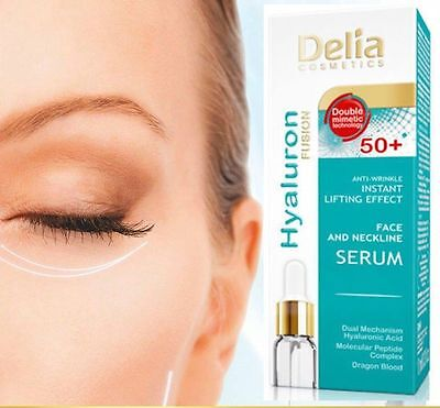 DELIA HYALURON ANTI-WRINKLE INSTANT LIFTING EFFECT FACE NECK SERUM 50+ 10ml