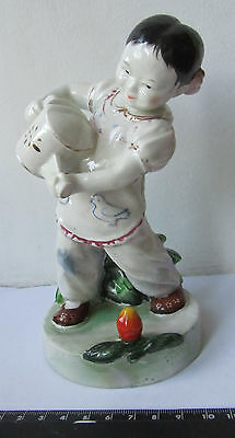 Girl watering flower Chinese porcelain figurine figure Old China