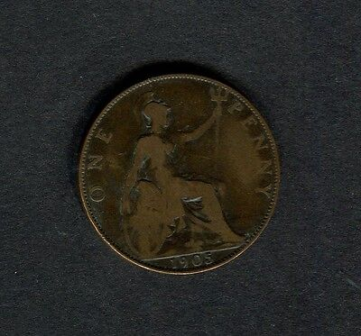 UK: Edward VII 1905 One Penny Coin