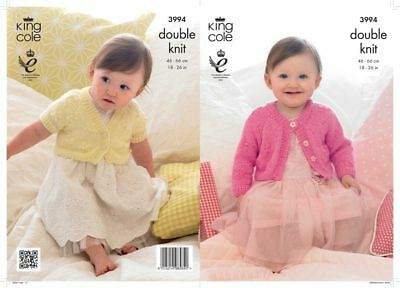 "Baby Girls  Cardigan  Dk Knitting Pattern For Sizes 18 - 26 "" King Cole 3994"