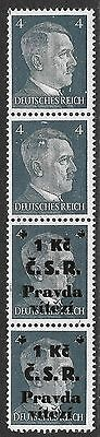 Czechoslovakia stamps 1945 local ovpt strip of 4  ERROR 2 stamps without ovpt