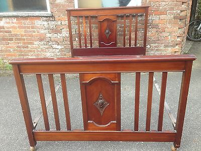 Antique Edwardian Mahogany  4'6 double rail bed bedstead