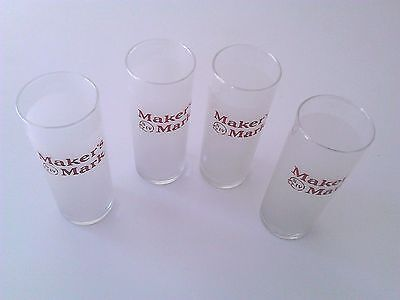 "Set of 4 Vintage MAKERS MARK UNUSED 6"" FROSTED GLASSES NOS Direct from Warehouse"