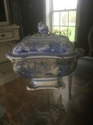 "Staffordshire Blue And White Soup Tureen ""canova"" C 1835"