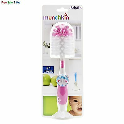 Baby Bristle Bottle Brush Cleaner Cleaning Set for baby's health ,BPA free PINK
