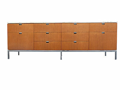 Florence Knoll Teak Credenza w/ Carrara Marble Top