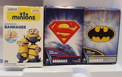 Lot of 3 DC Comics Batman + Superman Adhesive Bandages 60 Bandaids Total