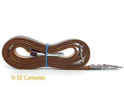 Genuine Rolleiflex Tan Leather Scissor Strap Camera Neck Strap *excellent*