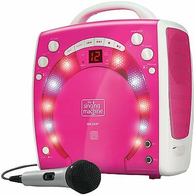 Kids Pink Karaoke Party Singing Machine Disco Light Effect Two Microphone jacks