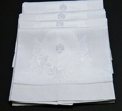 "Damask Irish Linen Hand Towels (4) - 34"" Vintage Mono ""LRS"" Water Lilly Pattern"