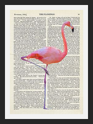 Pink Flamingo Vintage Book Page Pop Art A3 Poster Print - Limited Edition Of 100