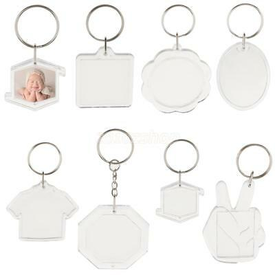10x DIY Acrylic Key Ring Blank Insert Craft Photo Picture Frame Keychain Keyring