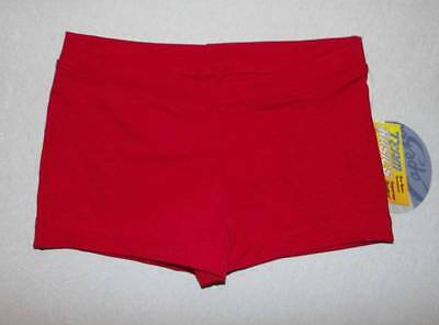 Capezio boycut lowrise red dance gymnastics shorts NWT child large 10 12 HCB