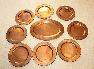 Vintage Lot of 8 HEAVY Hecho En Mexico Copper Plates 7'' & OVAL  PLATER