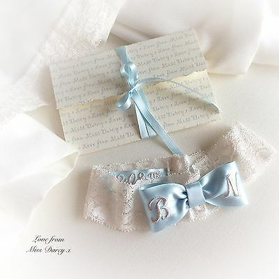 Bridal Garter Ivory Stretch Blue Personalised Bow Miss Darcy Wedding Brides Hen