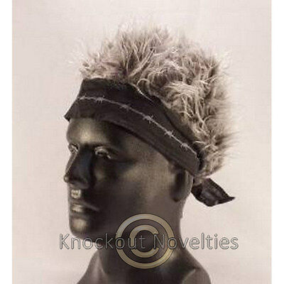 Black Barbed Wire Bandana With Gray Hair Fake Wig Party Band Costume Hat Head