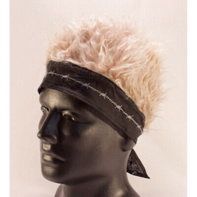 Black Barbed Wire Bandana W/ Blonde Hair Fake Wig Party Band Costume Hat Head