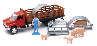 NEW-RAY COUNTRY LIFE 1:43 Red Chevy Stakebed Truck with Pigs Playset