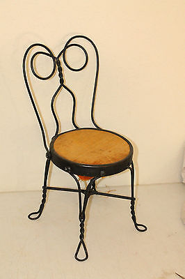 Antique Primitive  Ice Cream Parlor Child Chair Twisted Metal  Wrought Iron