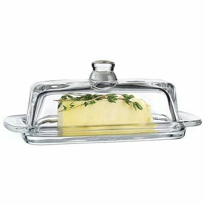 Clear Glass Covered Butter Dish with Knob Handle