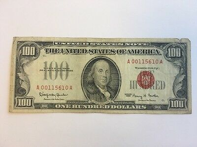 1966 $100 One Hundred Dollar Bill Red Seal United States Currency Note