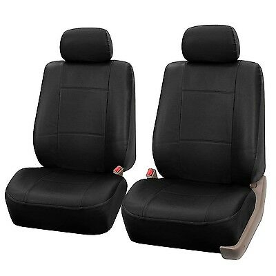 FH Group Universal Fit Front Car Seat Cover - Faux Leather (Black) Set of 2