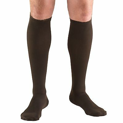 Truform 15-20mmHg of Compression Dress-Style Support Socks Mens Small Brown