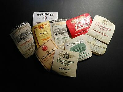 "(10) Vintage Wine / Liquor Bottle Labels ""france, Scotland & California"