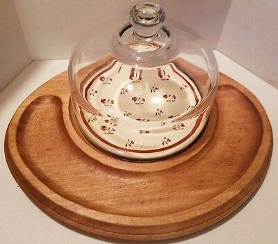 VTG Goodwood Glass Dome Teak Wood Cheese Serving Board Mid Century Japan