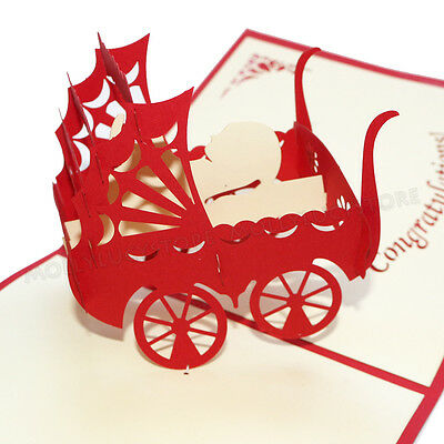 Baby  Shower party card red Stroller HANDMADE 3D POP UP GREETING CARD