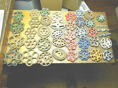 40 Vintage Water Valve Handles Knobs Steampunk Industrial Art Colorful