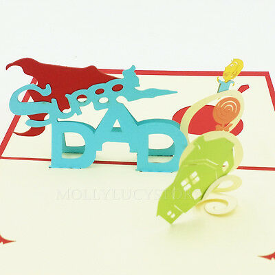 Super Dad I Love Dad 3d Pop Up Greeting Card Fathers Day Or Dads