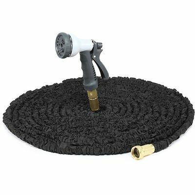 New 150 Ft Expandable Brass Flexible Garden Hose Pipe Expanding+Spray Gun Uk Sel