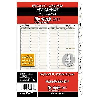 """Day Runner Weekly / Monthly Planner Refill 2017, 5-1/2 x 8-1/2"""", Size 4"""
