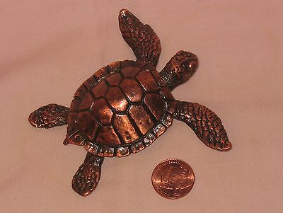 Highly Details Solid Bronze Sea Turtle Figure; For Decorative Or Paper Weight