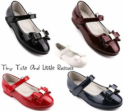 Toddler Girls Patent School Wedding Shoes Pumps Leather Insole Sizes UK 7 - 2
