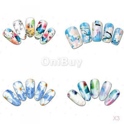 3x 20pcs Mode Faux Ongles French Manicure Autocollant Ongles Bricolage Art 3