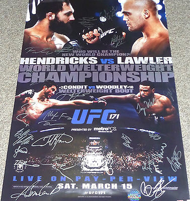 UFC 171 OFFICIAL EVENT POSTER SIGNED x26 MMA FIGHT BJJ Lawler Hendricks 105/125