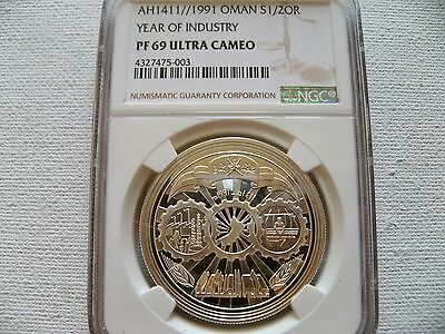 """Oman 1991 1/2 OR """"Year of  Industry"""" silver coin NGC PF 69 UC"""
