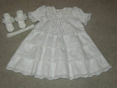 Stunning Ooak Handmade White Lace 3 Pc Christening Dress Set-Size 6 Months-New