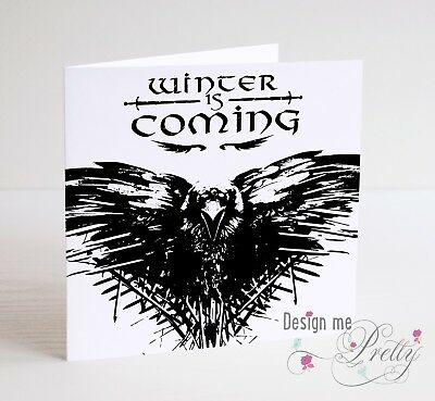 GAME OF THRONES WINTER IS COMING, RAVEN Birthday Anniversary Card