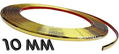 10mm x 3M Gold Moulding Trim Car Protect Adhesive Strip Styling Decoration Self