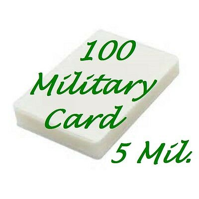 100- MILITARY CARD Laminating Laminator Pouch Sheets 2-5/8 x 3-7/8..  5 Mil