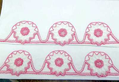 "Pair of Vintage White Pillowcases Pink Crocheted Cotton Tubing 21""x 32"" Queen"