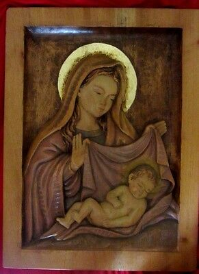 """Lovely Wooden Hand Carved Icon Of Virgin And Child--12"""" X 16""""--Deep Relief"""
