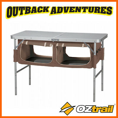 Oztrail  Folding Table  With Storage Cooking Kitchen Camp Camping Fta-Ftst-B